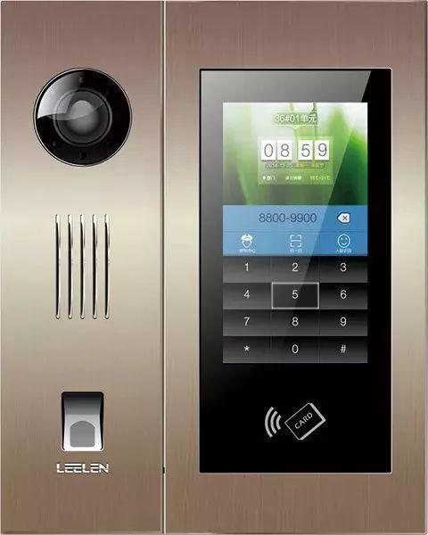 了立林的数字楼宇对讲产品,具备人脸识别,指纹识别等功能的门禁主机.