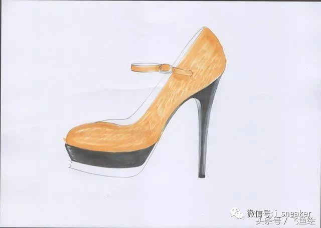 教程|黄哲马克笔服装效果图手绘第七课:不同材质鞋类表现