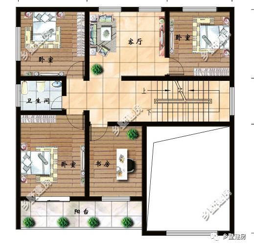 二层平面设计图:挑空客厅山空,三间卧室,一间书房和小客厅.
