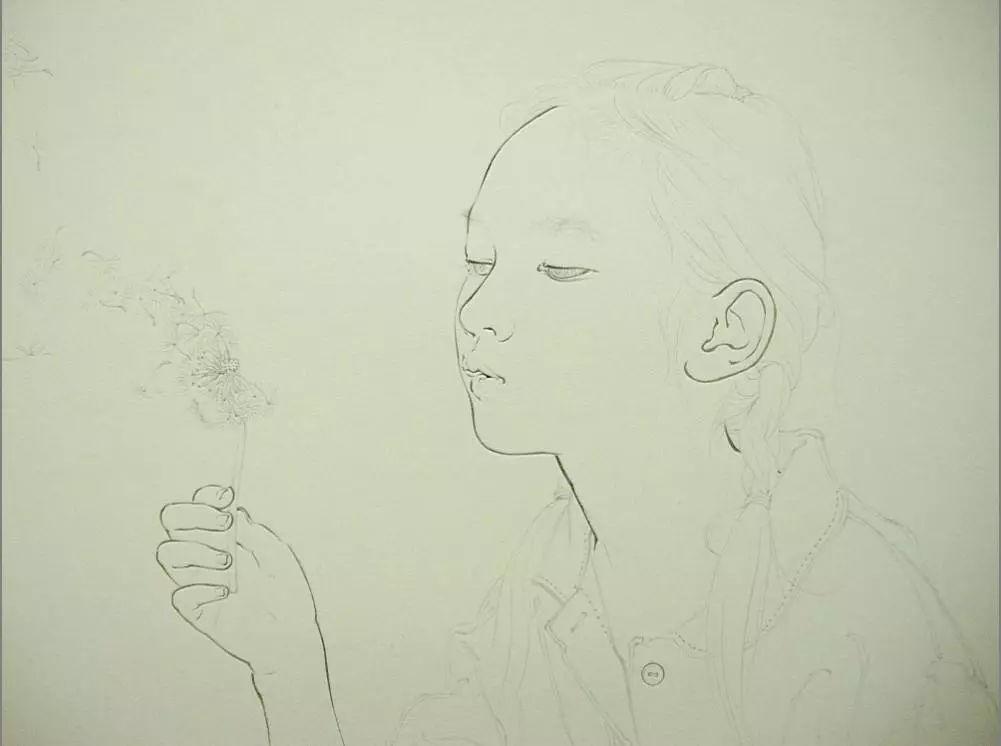 她的工笔画,轻柔曼妙,香艳极致