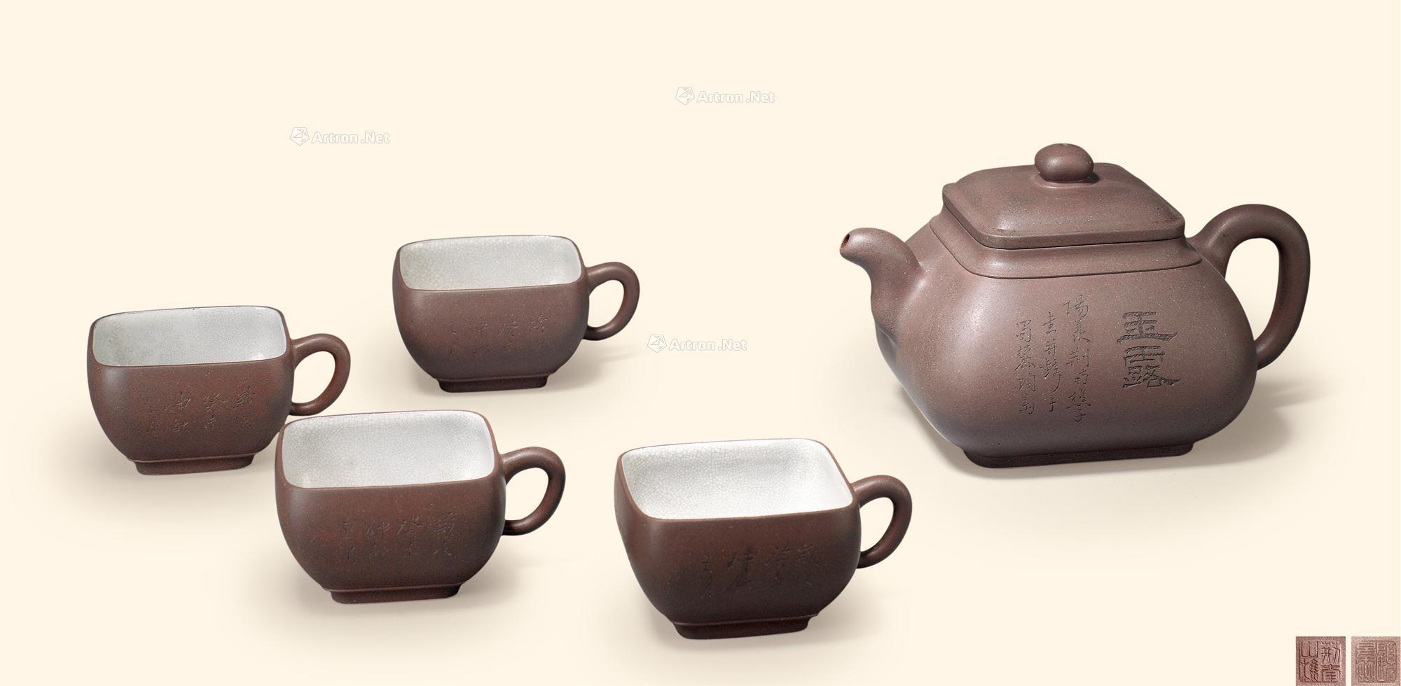顾景舟雨露诗文五头茶具