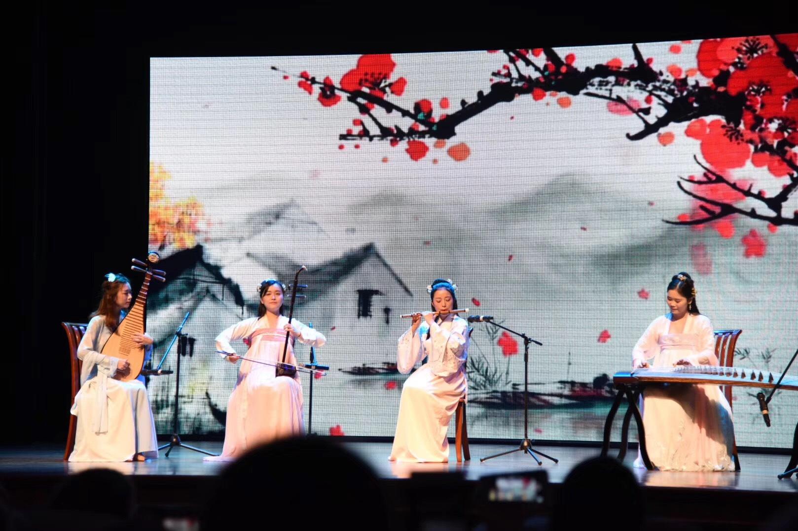 年会演出乐器四重奏,古筝,琵琶,笛子,二胡结合名族舞优美