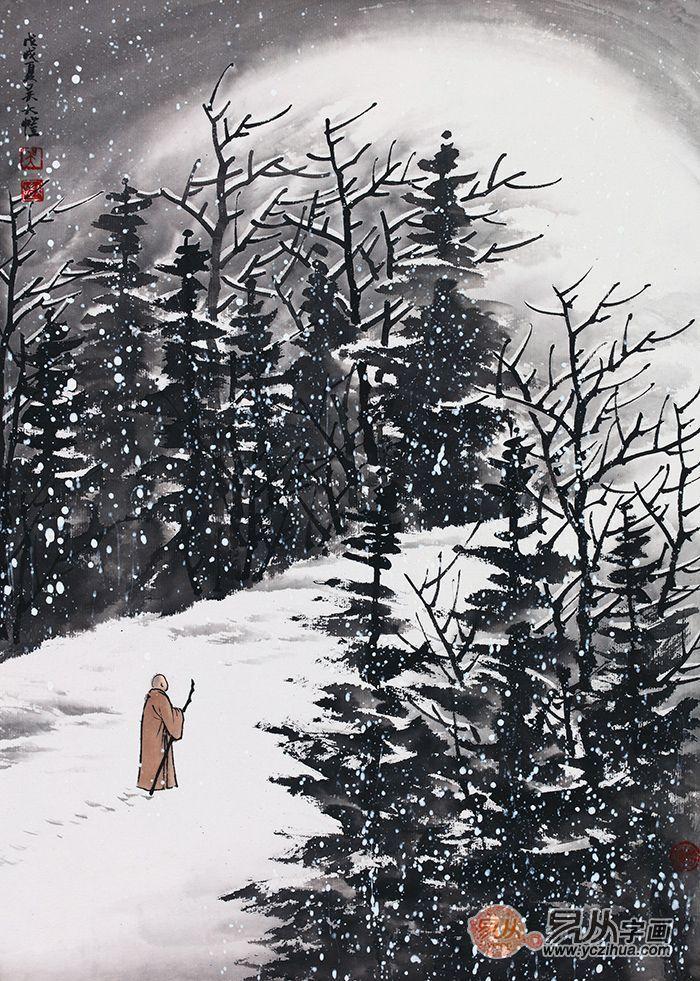 山水画名家吴大恺:雪景山水画中的禅意与乡情图片