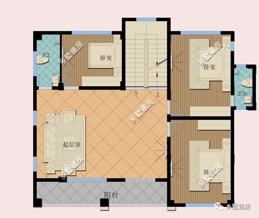 二层平面设计图:二楼一个带阳台的起居室,三间卧室.