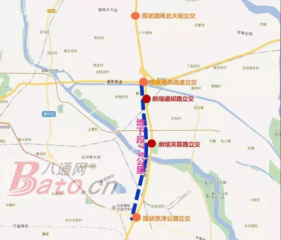 京津公路立交,通燕高速立交,潞苑北大街立交),结合副中心的交通出行图片