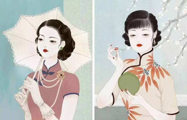 """""""沪上花"""" 是末春以民国时期 旗袍美人为灵感 创作的一组插画 古典图片"""