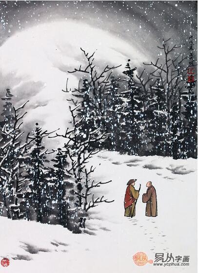 国画山水雪景图,当代名家吴大恺雪景作品欣赏 - 国画图片