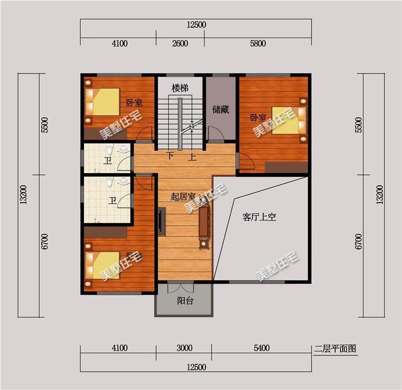 一层平面布局图设有:2卫生间,2卧室,门厅,客厅,餐厅,厨房,洗衣房.