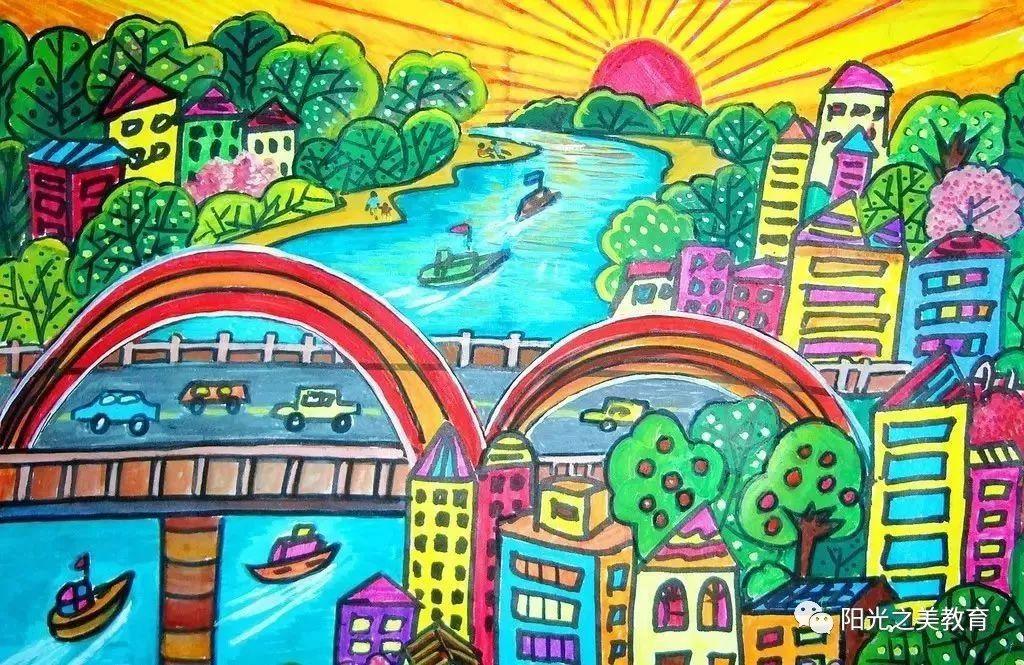 美丽家乡图片儿童画 美丽的家乡儿童画_儿童画美丽