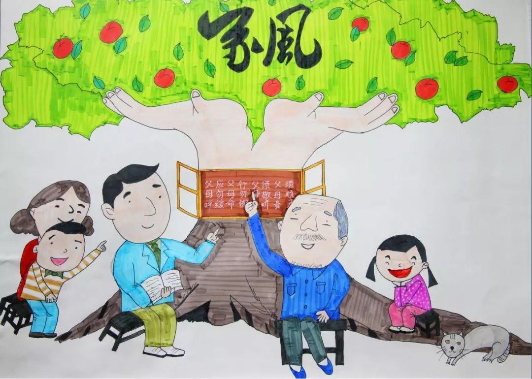 童画,好家风好家训_【童画新时代 手绘价值观】家庭文明则社会文明!