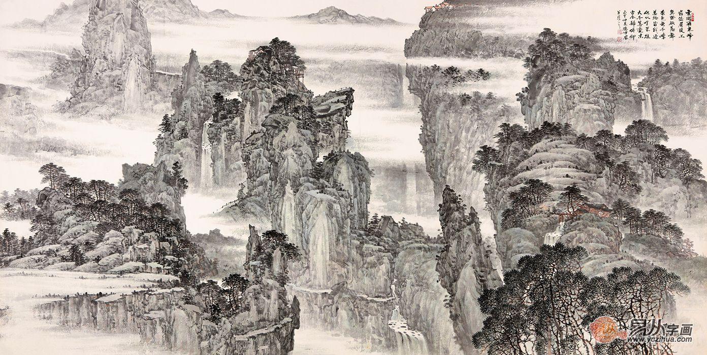 国画典藏 林德坤最新国画山水画《云开飞来峰》