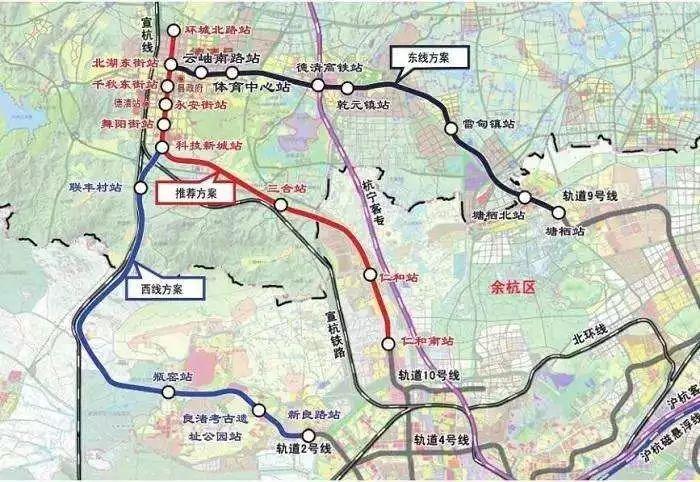 杭德线轻轨走向基本落定,由杭州地铁10号线新兴路站引出后,经仁和镇图片