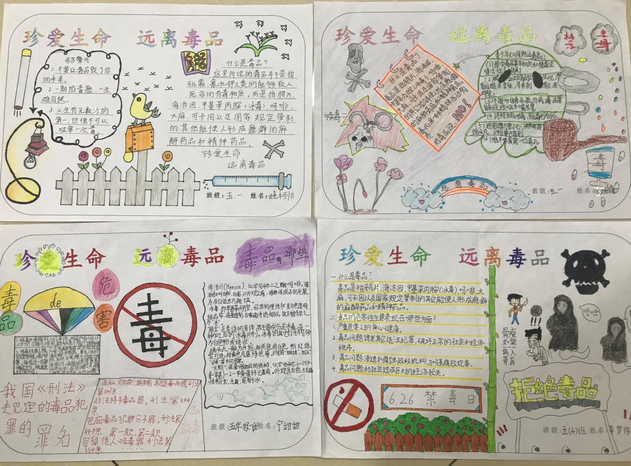 6月28日,各班学生制作了丰富多彩的禁毒手抄报