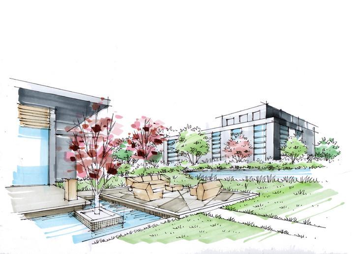 oct华侨城十号院庭院景观手绘线稿临摹步骤图杭州手绘