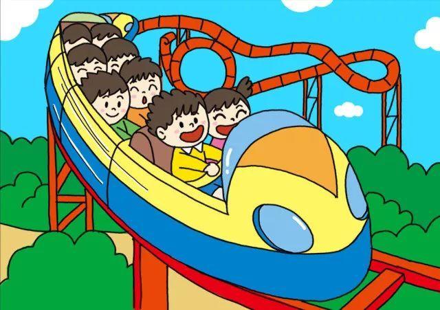 欢乐假期简笔画 畅玩游乐园