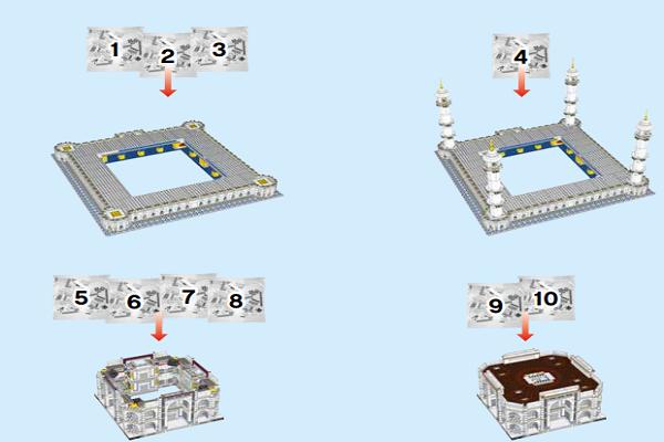 用乐高搭建印度泰姬陵,5000多块积木图纸,10256系列拼装教程!