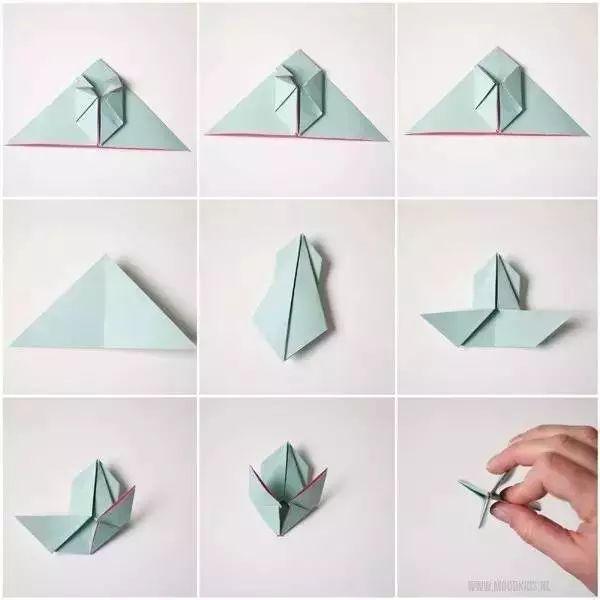 母婴 正文  折纸小白兔 制作步骤:在正方形卡纸上折出横向,纵向以及两
