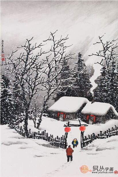 中国雪景山水画,当代名家吴大恺雪景画赏析图片