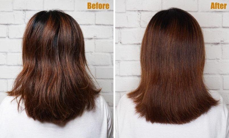 梳理前的头发毛躁粗糙,用气垫按摩梳梳理后,头发变得柔顺有光泽.图片