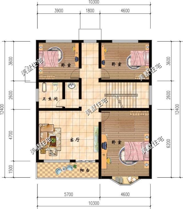 二层平面布局图设有:3卧室,卫生间,客厅,阳台.