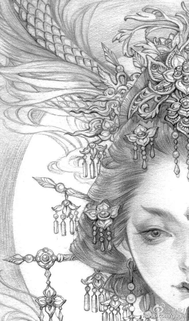 半面妆手绘线稿图片