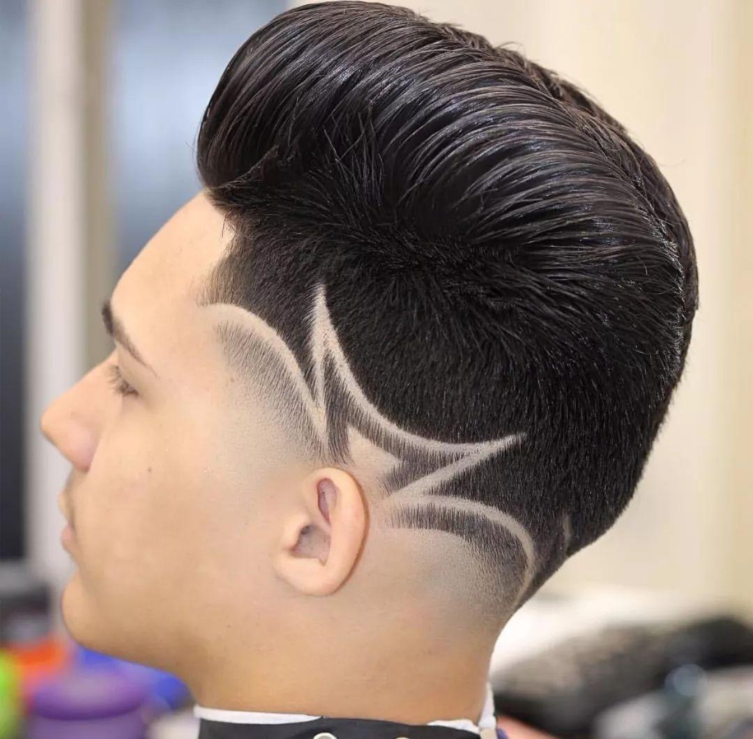 男士发型雕刻图案侧面
