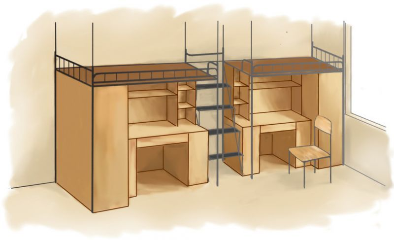 六人大学寝室cad平面图