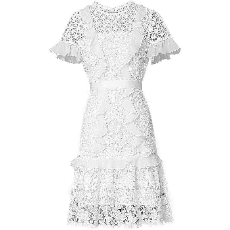 2018夏装新款时尚气质拼接蕾丝木耳边装饰系带收