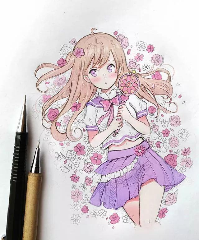 q萌q萌的小女孩 q萌系列 她的漫画人物大多使用 两种色系的马克笔刻画