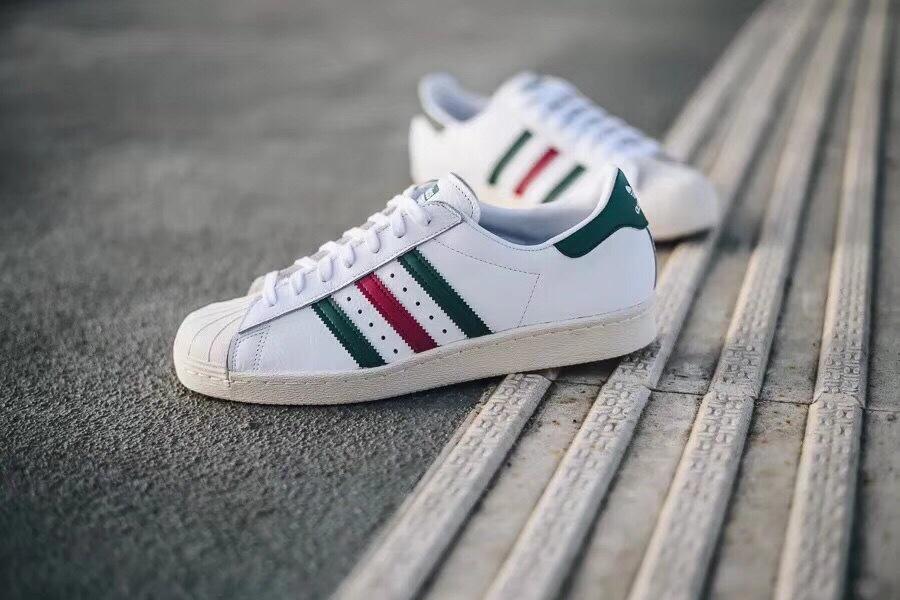 阿迪达斯贝壳头板鞋意大利白绿 Adidas SuperStar 80s