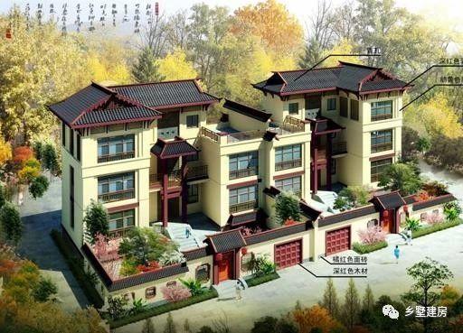 这款新中式别墅,外观高大,色彩丰富,宽大的围墙,不仅空间宽大,而且可
