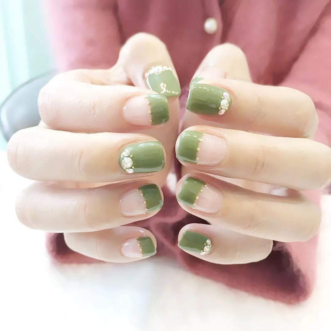 『鱼籽』清新绿色美甲,抹茶绿+牛油果绿