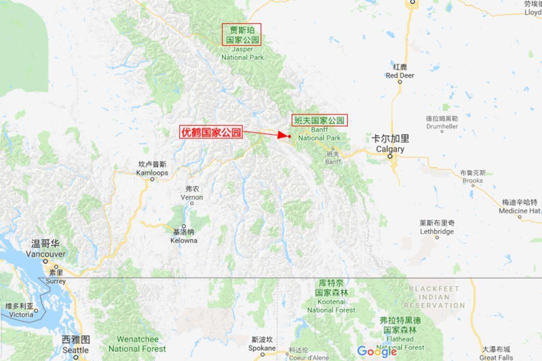 加拿大落基山脉三大国家公园位置图.