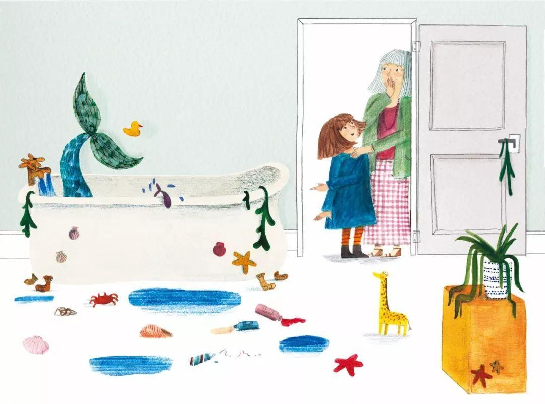 就像本书中的小女孩诺拉,家里的地上是各式各样的图书和玩具(包括一头图片