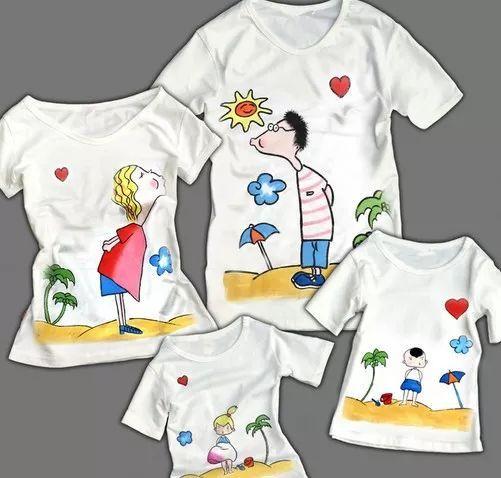 將自己喜歡的文字,圖案親手彩繪在t恤上 和寶貝一起走進親子t恤diy圖片