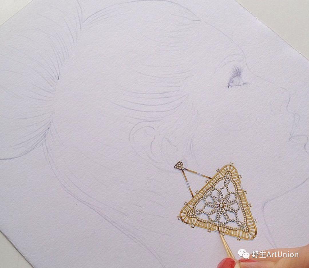 1000张珠宝首饰设计步骤图/线稿/彩铅/水彩/素描手绘图片