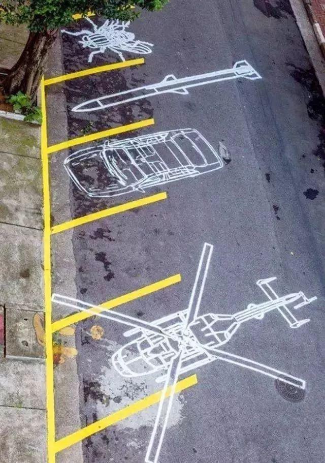 蒲公英地面彩绘 虽然没什么十分特别的设计 但胜在颜值高 是停车位图片