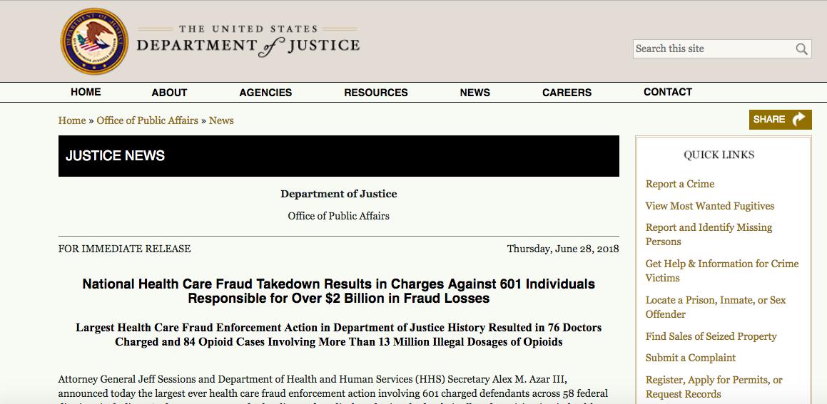 美国最大规模医疗欺诈案:601人涉案,套取医保资金超20亿美元