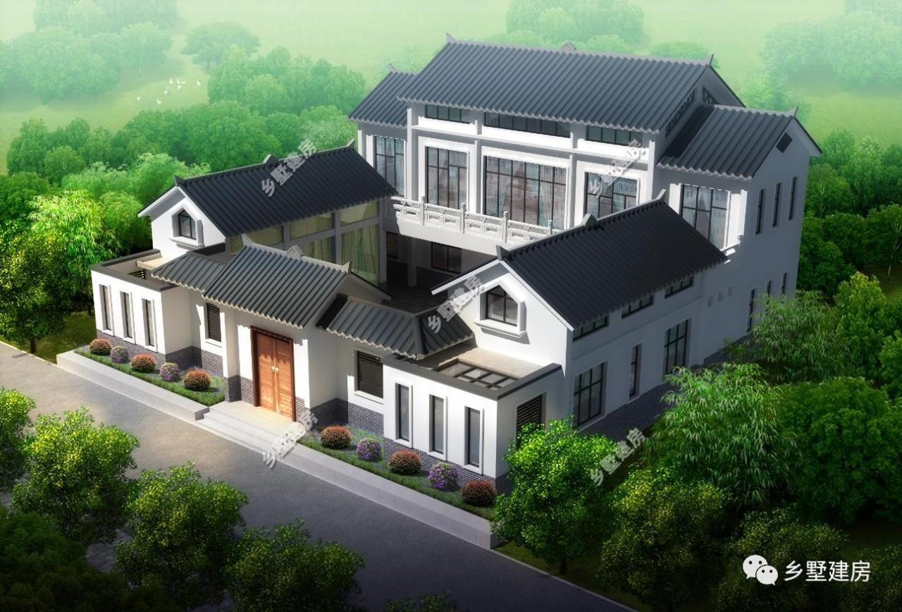 两栋新中式四合院别墅,将传统建筑和现代化生活元素,完美融合!图片