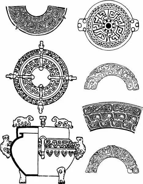 常用于青铜器的纹样有:贪吃纹,夔龙纹,龙纹(匍匐龙纹,卷龙纹,双体龙纹图片