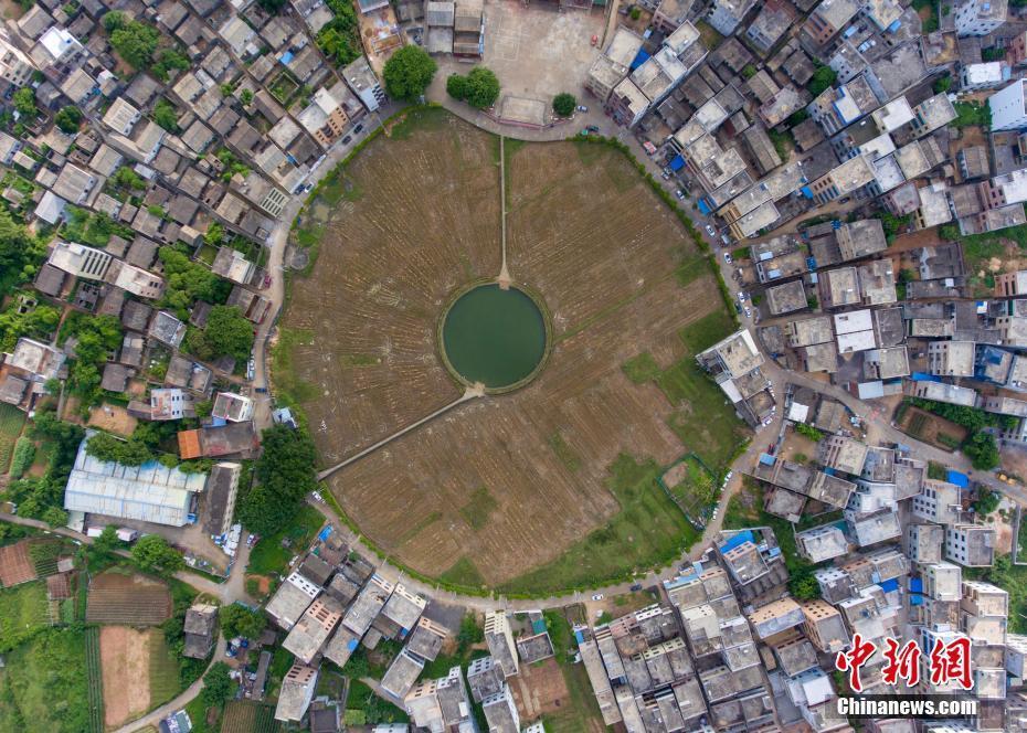 """""""太极图""""的圆心是文毓村中间的人工水塘,水塘四周是农田,大约有四五图片"""