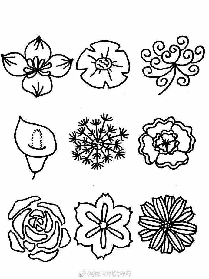简笔画 一组花朵简笔,造型百样 花朵手帐,简单易学 看点快报