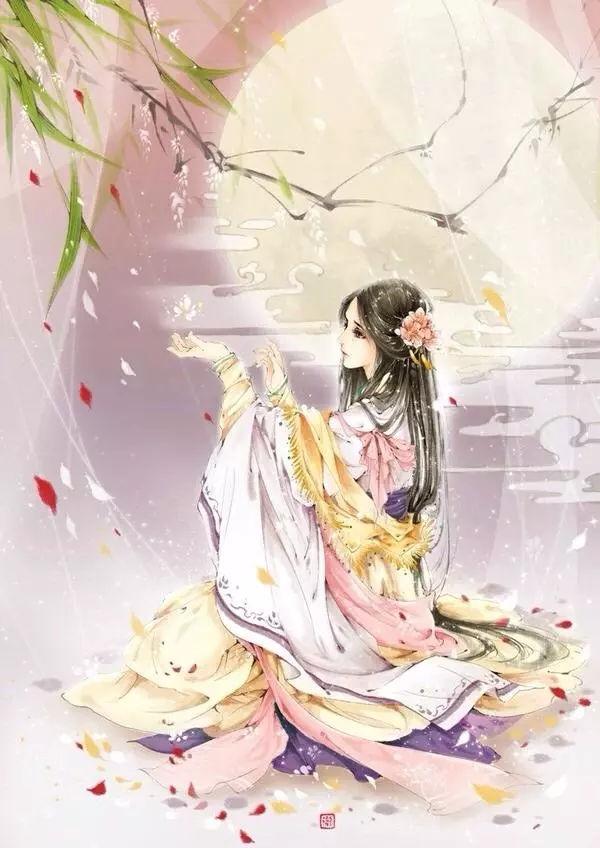 古风手绘画:紫色罗裙,翩翩起舞的古典美人.