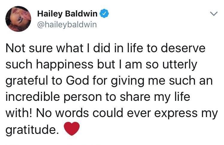 比伯海莉订婚,又是一个嫁给偶像的人生赢家