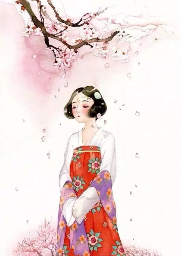 古风美少女:梅花树下,感悟自然的美.