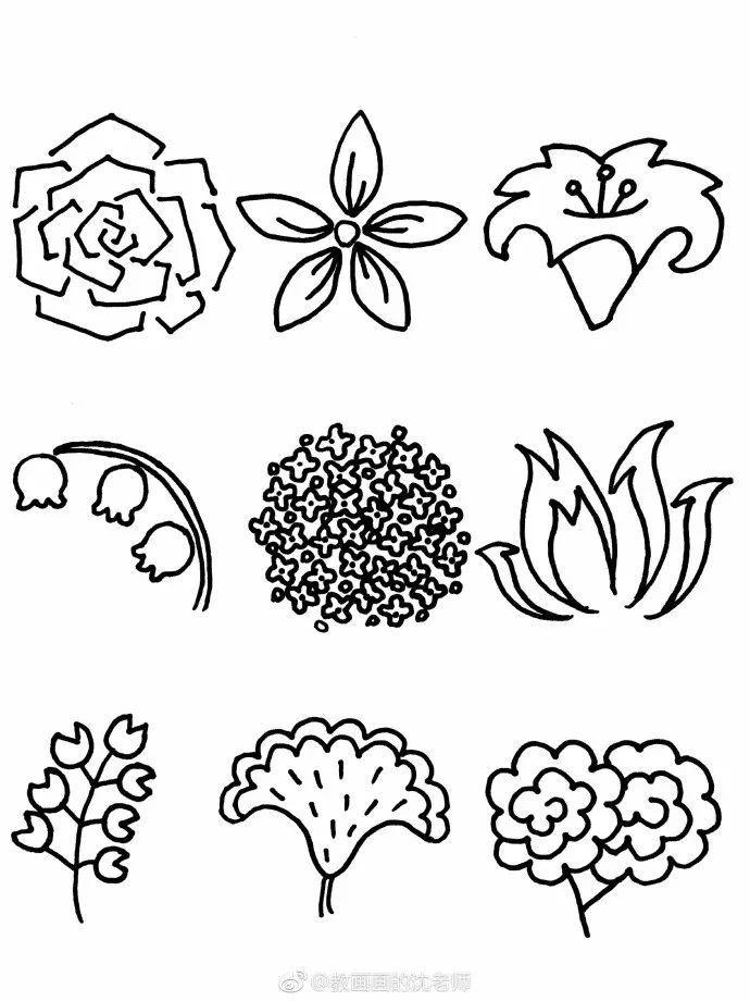 花朵简笔画手绘手帐素材,有需要的就拿去吧