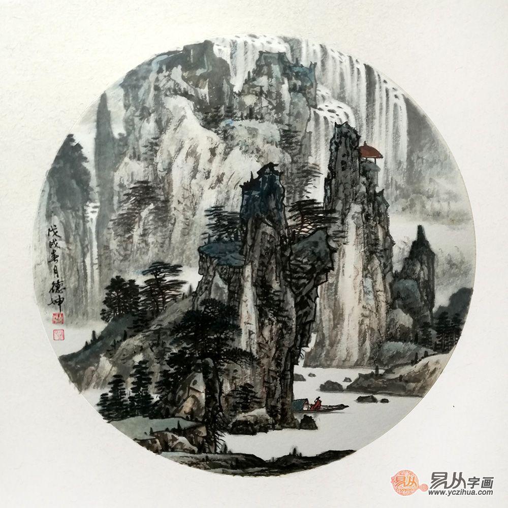 林德坤最新力作斗方画《高山流水》