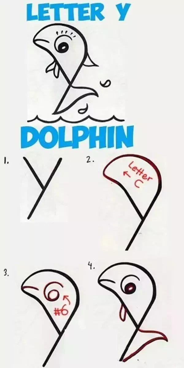 英文字母创意简笔画,假期陪孩子一起玩吧!