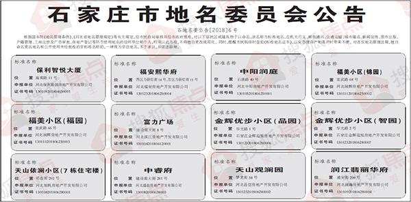 石家庄12个标准地名公示 涉及保利富力旭辉