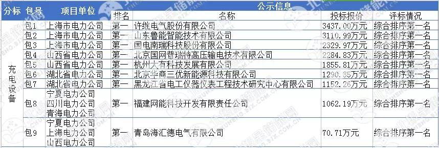 国家电网第二批充电桩中标候选人公布 共9家企业分摊3亿元